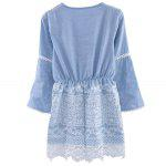 best Stylish V-Neck Flare Sleeve Lace Spliced Lace Up Denim Ladies Midi Dress