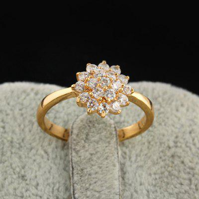 Rhinestoned Floral Decorated Ring