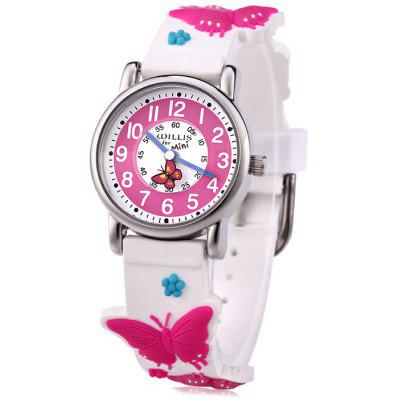 Willis Children Quartz Watch with 3D Butterfly Pattern Rubber Strap