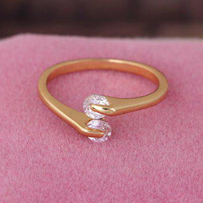 Vintage Solid Color Rhinestone Cuff Ring For Women