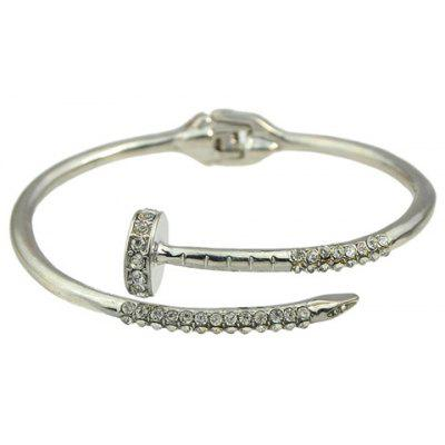 Vintage Solid Color Rhinestone Nail Cuff Bracelet For Women