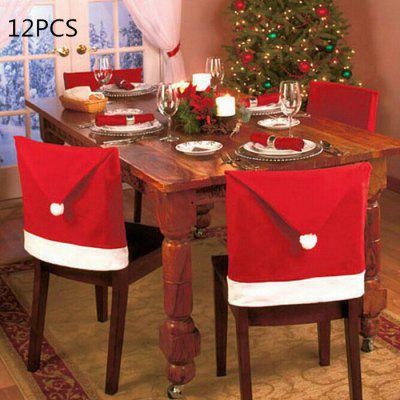 12PCS Christmas Santa Claus Hat Chair Back Cover