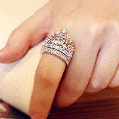 2PCS Noble Rhinestoned Hollow Out Crown Shape Rings