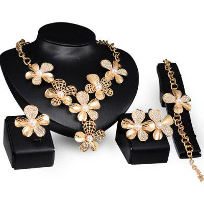 A Suit of Graceful Faux Pearl Floral Necklace Ring Bracelet and Earrings For Women