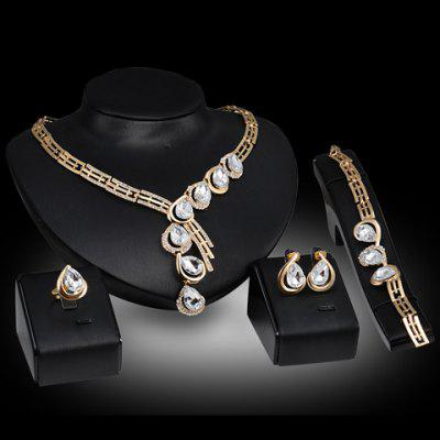 A Suit of Faux Crystal Teardrop Necklace Ring Bracelet and Earrings