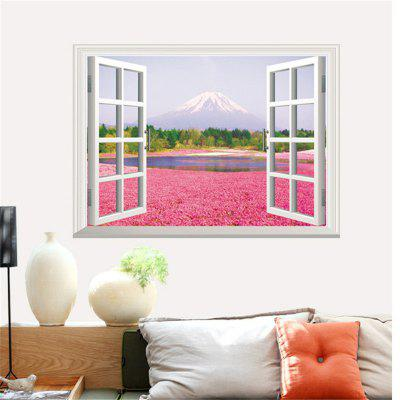 3D Pink Flower Sea Design PVC Wall Stickers