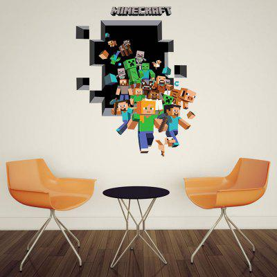 Wall Stickers Deal; PVC Minecraft Running Design 3D Wall Decals ...