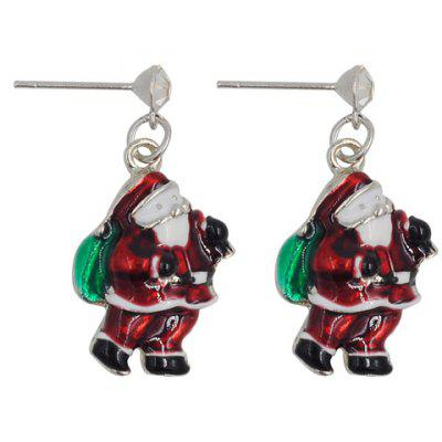 Pair of Cute Santa Claus Shape Christmas Earrings Jewelry For Women