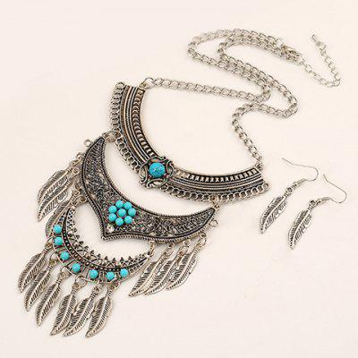 A Suit of Vintage Metal Leaf Tassel Necklace and Earrings