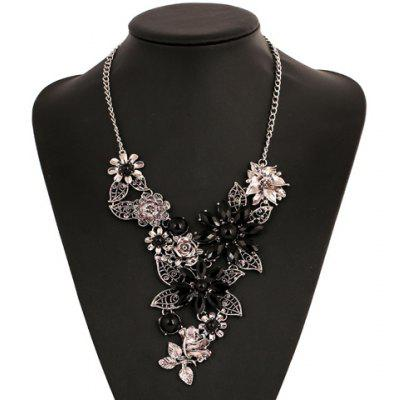 Blossom Faux Crystal Hollow Out Necklace