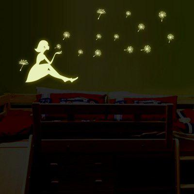 Dandelion and Girl Design Fluorescent Wall Stickers