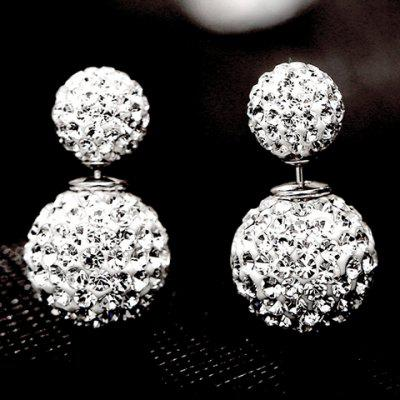 Pair of Alloy Rhinestoned Ball Stud Earrings