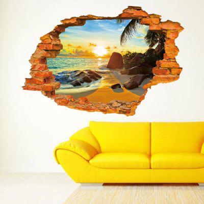 3D Beach Sun Design Wall Stickers