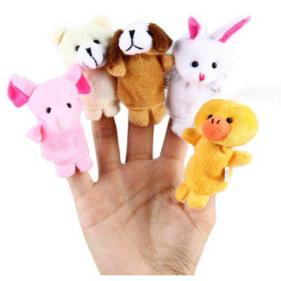 5Pcs Zoo Animal Finger Puppet Cloth Doll