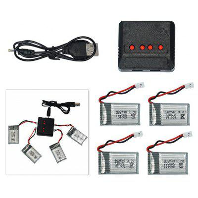 Buy SILVER Spare Battery Charging Set 4x3.7V 720mAh LiPo + 4-port Balance Charger for Syma X5C X5SC Cheerson CX 30 Quadcopter for $14.97 in GearBest store