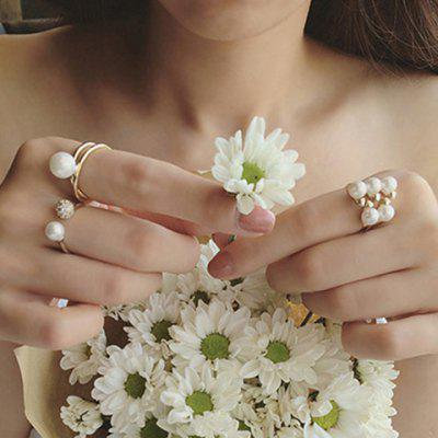 A Suit of Graceful Faux Pearl Rings For Women