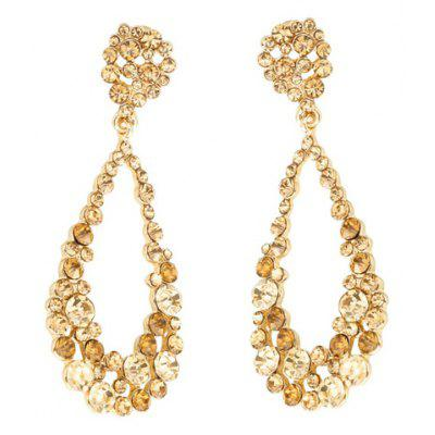 Pair of Exquisite Rhinestoned Hollow Out Water Drop Earrings For Women