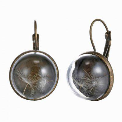 Pair of RetroTransparent Cover Round Dandelion Earrings