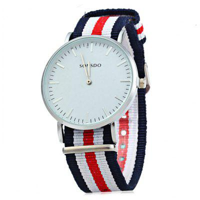 SONSDO Colorful Canvas Band Male Quartz Watch