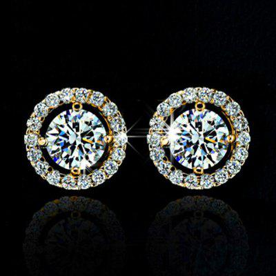 Pair of Fashionable Faux Crystal Rhinestone Round Earrings For Women