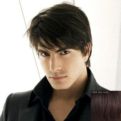 Masculine Inclined Bang Capless Trendy Short Fluffy Natural Straight Human Hair Wig For Men