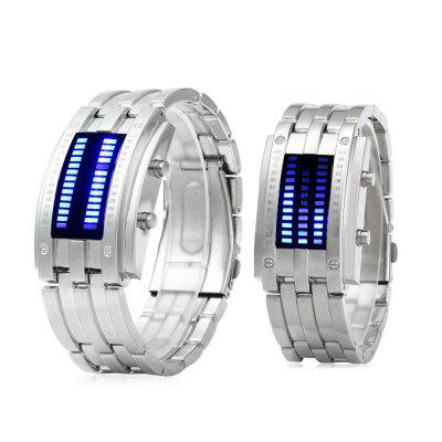 Date Binary Digital LED Bracelet Watch for Lovers with Two Lines LED Display