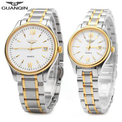 GUANQIN Calendar Rhinestone Water Resistant Luminous Quartz Couple Watch