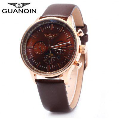 GUANQIN Male Leather Calendar Luminous Analog Quartz Watch with Moving Sub-dials