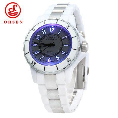 OHSEN FG0736 LED Lights Sports Quartz Watch