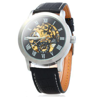 SHENHUA 9269 Men Hollow Automatic Mechanical Watch with Leather Strap
