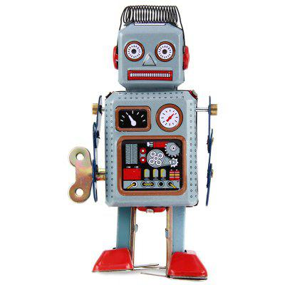 Metal TIN Clockwork Wind Up Walking Robot