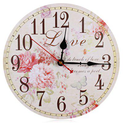Wooden Wall Clock Peony Design