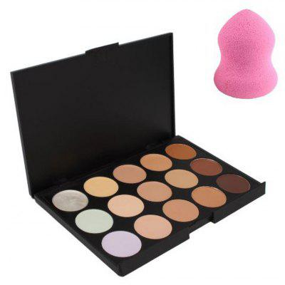 Buy BLACK 02# 15 Color Cream Camouflage Concealers Palette Cosmetic Makeup Cottect + Powder Puff for $7.43 in GearBest store