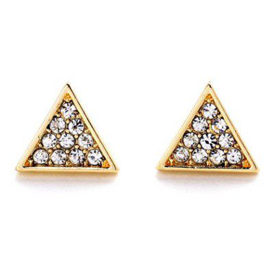 Pair of Cute Faux Crystal Triangle Shape Stud Earrings For Women