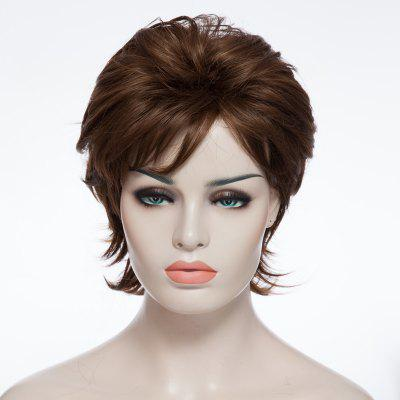 Fashion Fluffy Side Bang Mixed Color Charming Short Curly Synthetic Capless Wig For Women