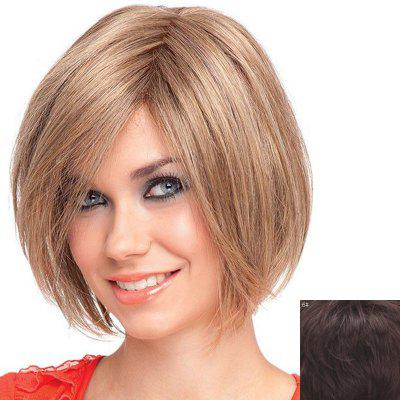Attractive Short Straight Capless Stylish Inclined Bang 100 Percent Human Hair Wig For Women