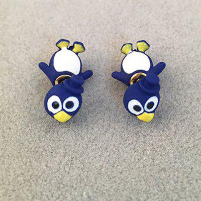 Pair of Cute Rhinestone Penguin Shape Earrings For Women