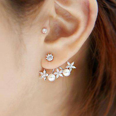 Pair of Graceful Rhinestoned Faux Pearl Floral Earrings For Women