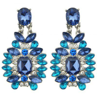 Pair of Vintage Rhinestone Faux Sapphire Earrings