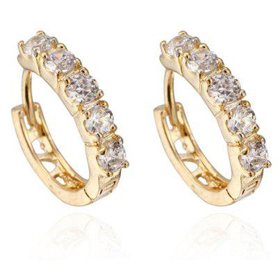 Pair of Round Rhinestone Hollow Out Earrings