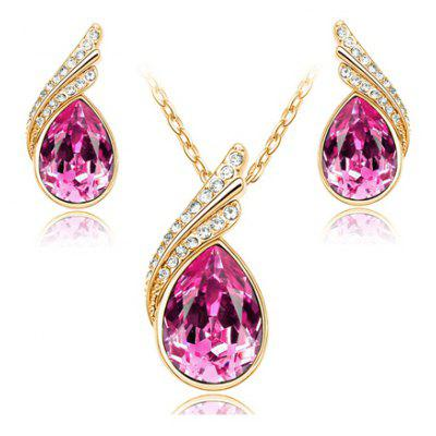 A Suit of Stylish Faux Crystal Rhinestone Water Drop Shape Necklace and Earrings For Women