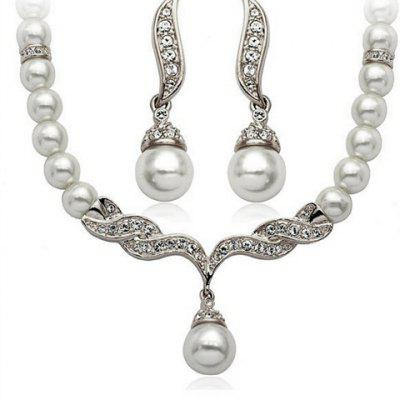 A Suit of Trendy Faux Pearl Rhinestone Necklace and Earrings For Women
