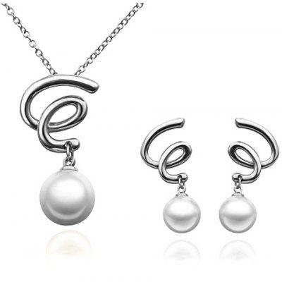 A Suit of Trendy Faux Pearl Vortex Necklace and Earrings For Women