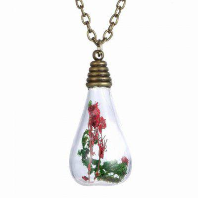 Trendy Glass Water Drop Bottle With Dry Flower Pendant Necklace For Women