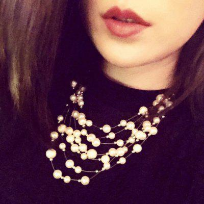 Faux Pearl Layered Statement Necklace