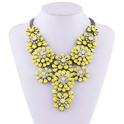 Floral Rhinestone Water Drop Layered Necklace