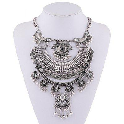 Vintage Faux Crystal Pig Head Shape Beads Hollow Out Necklace