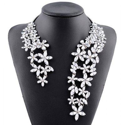 Hollow Out Rhinestone Floral Cuff Necklace