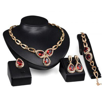Water Drop Fake Ruby Jewelry Set