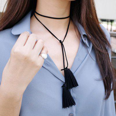 Chic Solid Color Cloth Tassel Necklace For Women